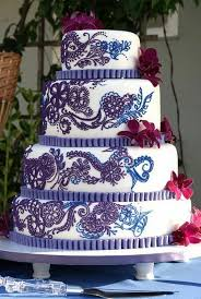 Omg this is the perfect cake Too pretty to eat Purple and Blue Henna Wedding Cake by SugarlumpCakery Indian wedding cake