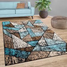 teppich wohnzimmer geometrisches muster kurzflor modern in blau beige braun