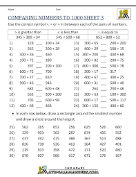 Ordering Numbers To 1000 Comparing 3
