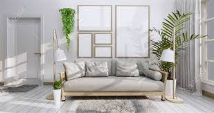 100 Zen Style Living Room Interior Poster Mock Up With Frame Sofa Plant And Lamp In Living