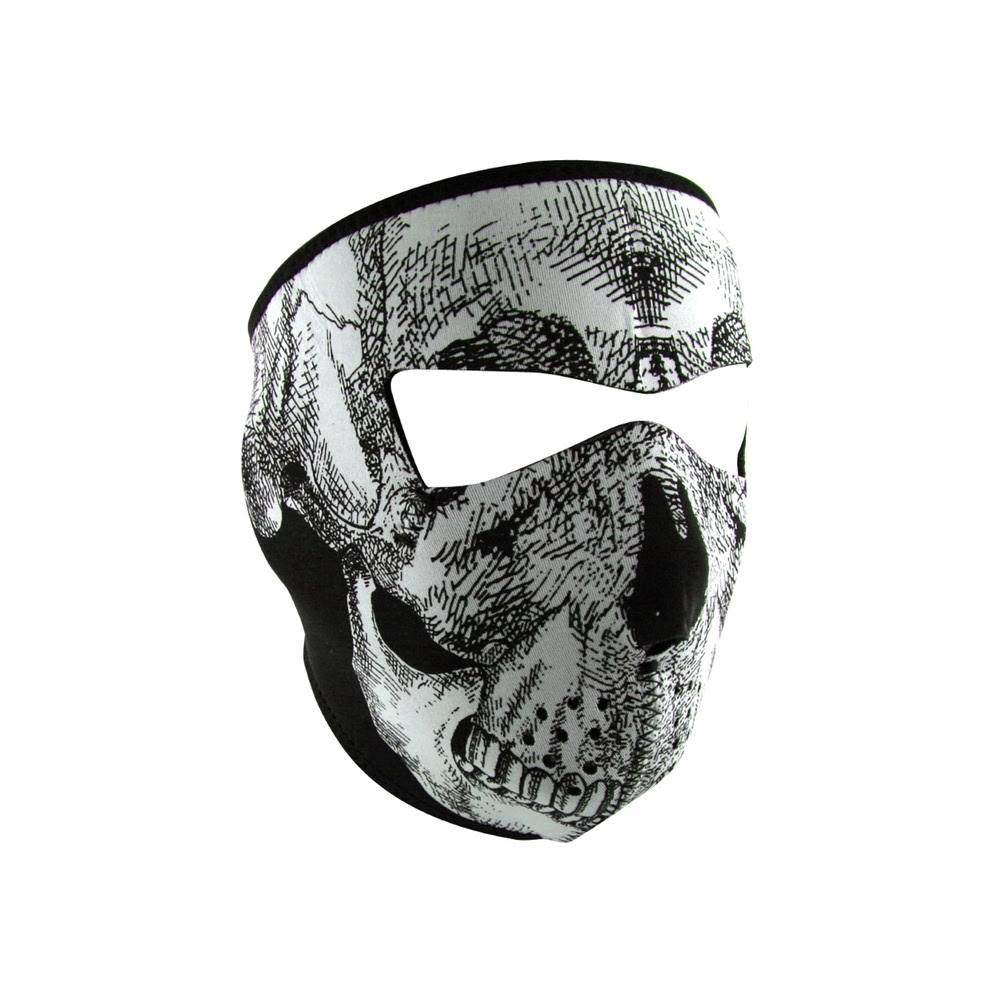 Zan Headgear Glow In The Dark Skull Neoprene Full Face Mask - White