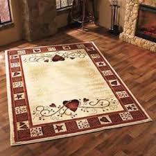 Hearts Berries Area Rug 63 X 90 Primitive Country Living Room Home Decor