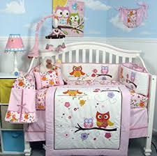 SoHo Pink Dancing Owl Baby Crib Nursery Bedding Set with Diaper bag 14 pcs set