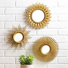 3 Piece Mirror Set Gold Designed Wall Decor Home