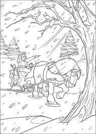 Click To See Printable Version Of Horse And Carriage In Winter Coloring Page