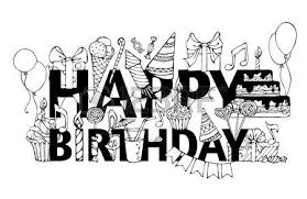 Happy Birthday card Hand drawn doodles t boxes garlands and balloons music