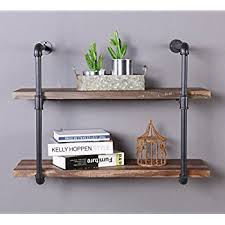 Homissue 2 Shelf Rustic Pipe Shelving Unit Vintage Industrial Wall Retro