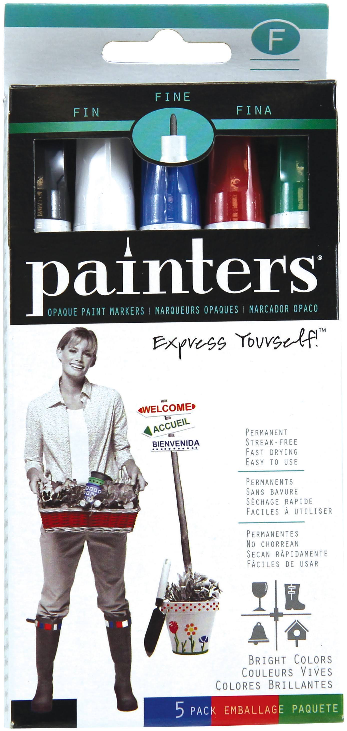 Elmer's Painters Opaque Paint Markers - Set of 5 Markers, Bright Colors, Fine Point