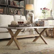 Aberdeen Industrial Zinc Top Weathered Oak Trestle Coffee Table By INSPIRE Q
