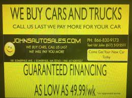 John's Auto Sales - Used Cars - Somerville MA Dealer 7 Smart Places To Find Food Trucks For Sale New Used Heavy Duty Medium Tow Wreckers Lynch Chevrolet Cars For Near Worcester Ma Colonial Service Utility Trucks For Sale Car Dealer In West Springfield Amherst Main Kelly Nissan And In Woburn Balise Auto Group And Car Dealers Cape Sarat Ford Truck Commercial Dealer Boston Stoneham Acton Toyota Littleton Serving Sinotruk Howo Water Tank Salefire