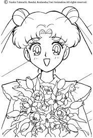 Sailor Moon With A Bunch Of Flowers Coloring Page More Sheets On