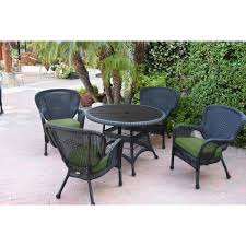 5pc Windsor Black Wicker Dining Set With Faux Wood Top And 3