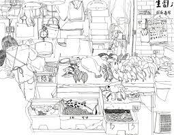 Coloring Books Wet Market Hong Kong Black And White Illustration