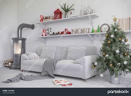 skandinavisches nordisches wohnzimmer einem mit مبل kamin
