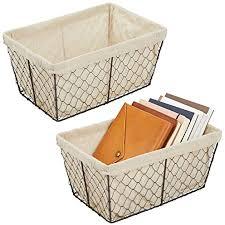 mdesign 2er set aufbewahrungskörbe aus metall großer drahtkorb mit stoffeinlage aufbewahrungssystem für küche speisekammer badezimmer und
