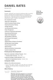Production Supervisor Resume Samples Work Experience