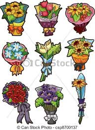 Flower Bouquet Icons Vector