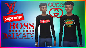 THE SIMS 4 DESIGNER HYPEBEAST CLOTHES GUCCI SUPREME HUGO BOSS BALMAIN CC DOWNLOAD