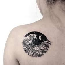 Ocean Waves Linework Back Tattoo