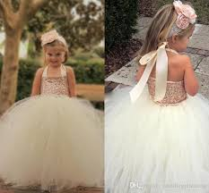 2018 Bling Rose Gold Sequin Flower Girl Dresses Cute Ivory Halter Floor Length Ball Gown Cheap Little Girls Pageant Confirmation