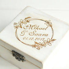 Custom Name Ring Box Rustic Bearer Wedding Holder Engagement