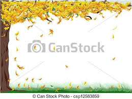 Tree With Yellow Falling Leaves Vector
