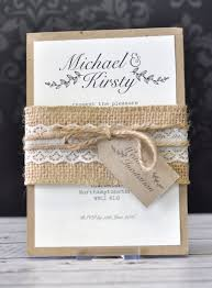 Rustic A6 Wedding Invitation Bundle With Hessian Twine Lace