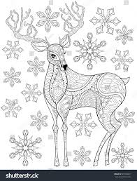 Vector Zentangle Christmas Reindeer On Snowflakes For Adult Antistress Coloring Pages Hand Drawn Illustration
