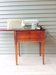 vintage mid century modern kenmore sears wood table sewing machine