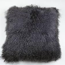 Tibetan Mongolian Lamb Fur Pillow Cover Dark Gray 22