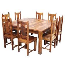 Rustic Square Table Large Dining And Chair Set
