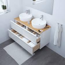 godmorgon tolken törnviken waschbschr aufsatzwaschb 45 hochglanz weiß bambus dalskär mischbatterie 122x49x74 cm
