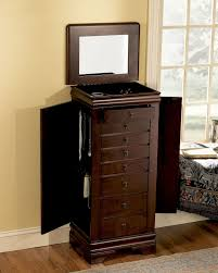 Furniture: Best Wood Storage Material Design For Jewelry Armoire ... Linon Ruby Fivedrawer Jewelry Armoire With Mirror Cherry Amazoncom Diplomat 31557 Wood Watch Cabinet Mele Co Chelsea Wooden Dark Walnut Vista Wall Mount Walmartcom Hives And Honey Florence Antique Wall Mounted Lighted Jewelry Armoire Abolishrmcom Belham Living Swivel Cheval Hayneedle Southern Enterprises Classic Mahogany Tips Interesting Walmart Fniture Design Ideas Upright Box Solid Home Best All And Decor