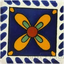 mo祓o azul amarillo talavera mexican tile