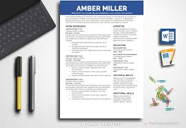 Resume Template Amber Miller 1 Page Professional For Word And Pages Mac