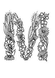 Learn Alphabet Flowers Letter M Coloring Pages