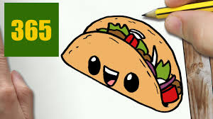 HOW TO DRAW A TACO CUTE Easy step by step drawing lessons for kids