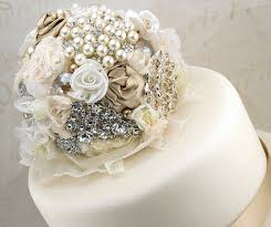 Brooch Cake Topper Wedding Jeweled In Champagne By SolBijou