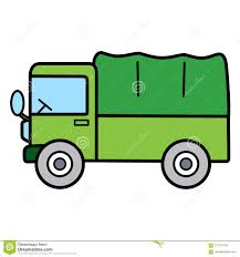 Simple Green Truck With Big Container On White Background Stock ...