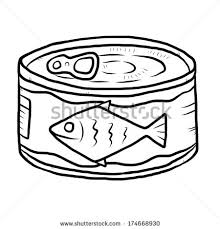 canned fish cartoon vector and illustration black and white hand drawn sketch