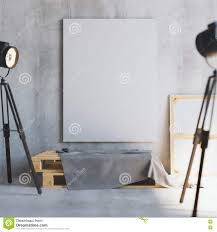 100 Art Studio Loft Mockup Of Vertical Blank Canvas On The Wooden Palletes With