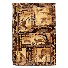 This Natural Color Lodge Design Area Rug Features Forest Scene With Moose Deer Eagle
