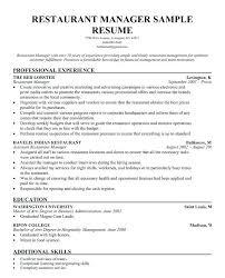 Restaurant Resume Sample Experience Head Server