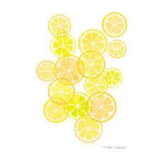 Lemons Art Print Lemon Fruit Modern Watercolor Painting Kitchen Yellow Wall