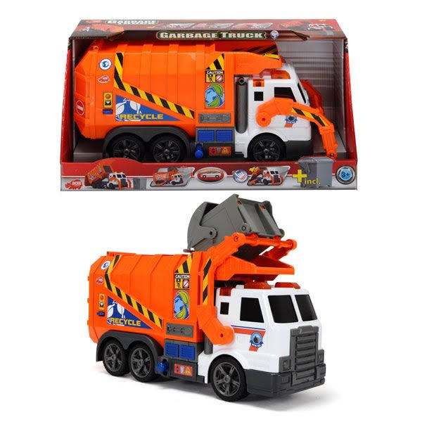 Dickie Toys Action Series Garbage Truck Diecast - Orange, Scale 1:6