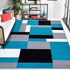 b b teppich für wohnzimmer groß fusselfrei geometrisches muster matsch küche esszimmer schlafzimmer 200 cm x 290 cm kilas blaugrün schwarz