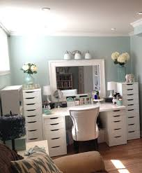 Bathroom Vanity With Built In Makeup Area by Makeup Organization Eas With Large Drawer And White Color Table