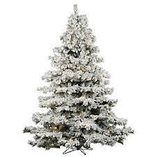 Vickerman Flocked Alaskan Pre Lit Christmas Tree With Warm White Lights