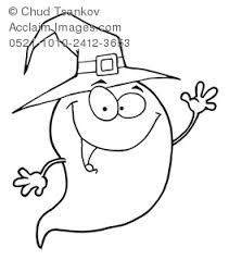 Halloween Coloring Page Of A Waving Ghost Wearing Witch Hat Clipart Image