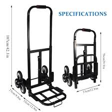 Stair Climbing Cart, Portable 330 Lb Capacity Heay Duty 6 Rubber ...